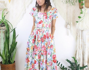 80s Cotton Floral Dress, Vintage Summer Picnic Dress 80s-does-50s style, Small 4089