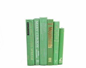 Lime Green Books, Decorative BOoks, Old Book Decor, Wedding Centerpiece, Antique Book Set, Home Library Decoration, Bookshelf Decor,