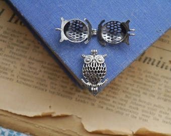 Small Antique Silver Owl Locket OPENS Hollow Diffuser Necklace Pendant Charm 28mm (SC3251)