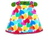 Happy Valentine - Baby 1st Valentine - Valentine Hearts - Rainbow Hearts Girls - Handmade Cotton - Handmade Toddler - KK Children Designs