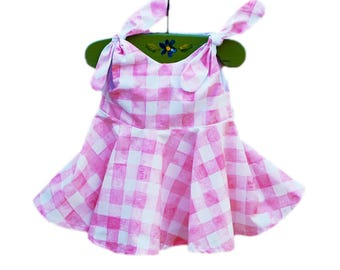 Painted Gingham Dress - Michael Millers - Baby Pink Dress - Comtemporary Style - Spring Outfit - Baby Wearing - Cotton - Custom Made USA