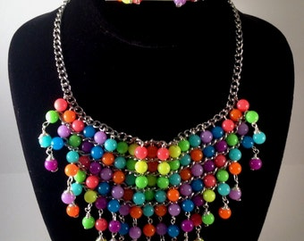 Beaded Bib Necklace, Bib Necklace, Beaded Necklace, Neon Necklace, Silver Necklace, Best Selling Jewelry, Gift Ideas, Jewelry set