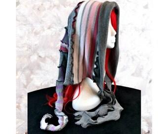 Elf Hood, Gray Hood, Upcycled Sweater Hood, Woodland Hat, Winter Hoodie, OOAK Sweater Scoodie, Festival Wear, Cosplay Hood, Fae Gift for Her