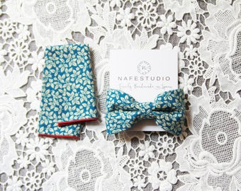 Mens Bow Tie Pre-tied Bow Tie For Men - Floral Bow Tie Blue Teal Bow Tie - Mens Gift Wedding Gifts Rustic Bow Tie Boho Wedding Groom Bow Tie