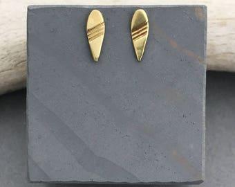 Hendrix brass minimalist teardrop post earrings- geometric stud earrings