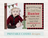 Moose Birthday Invitation - Plaid Birthday Invitation - Woodland Birthday invite - Lumberjack Invite - Rustic 1st Birthday Printable jpeg