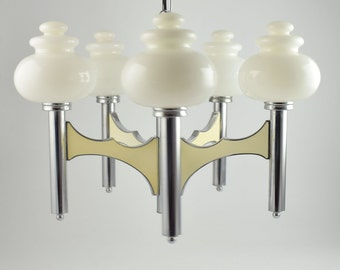 Sciolari pendant lamp, large Italian five arm regency chandelier in chrome and white glass