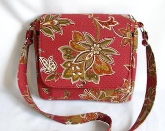 Large messenger bag- Art nouveau floral cotton