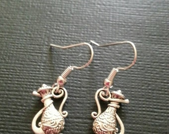 Silver Hookah Pipe Earrings