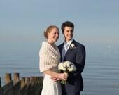 Wedding Shawl, Bridal Shrug, Bridesmaid Bolero Jacket, Rustic Wedding Cover Up, Bridal Cape, Spring Wedding Capelet, Ivory Crochet Shawl