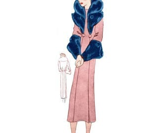 Plus Size (or any size) 1934 Vintage Coat Sewing Pattern - PDF - Pattern No 1529 Adeline Instant Download