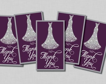 Plum Bridal Shower Thank You Tags favors printable Penelope BR07 Instant Download