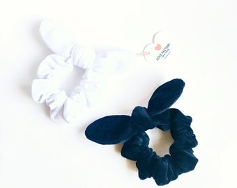 Bunny ear bow hair scrunchies velour black or white-bow scrunchies-kawaii chou chou-ponytail holder-hair ties-hair accessory-Love Factory NY