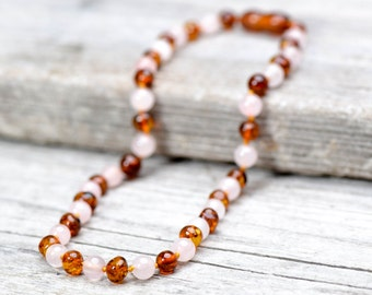 Baltic amber teething necklace with Pink Quartz