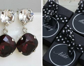 Burgundy Bridesmaid Earrings Set of 3 4 5 6 7 8 9 10 Pairs Maroon Burgandy Wedding Wine Earring Bracelet Set Also Avail As Clip On Earring