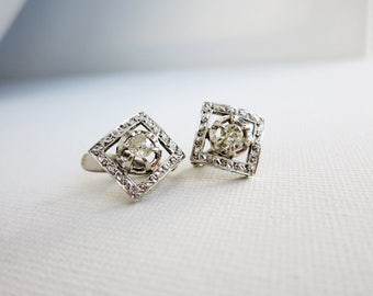 Antique 14K White Gold Earrings with Old Mine Cut Diamonds from the Philippines
