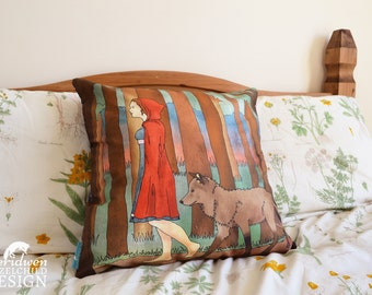 Red Riding Hood Illustration Throw Cushion