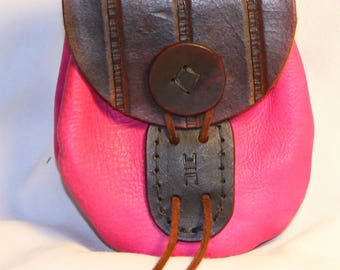 Pink/Brown Leather Pouch
