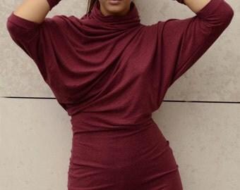 Woman Asymmetric red tunic/cowl neck dress