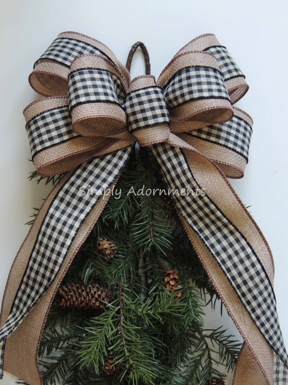 Vintage Black Check Wreath Bow Woodland Christmas Bow Rustic Burlap Black Check Christmas Bow Black Cream Christmas Swag Bow Rustic Gift Bow