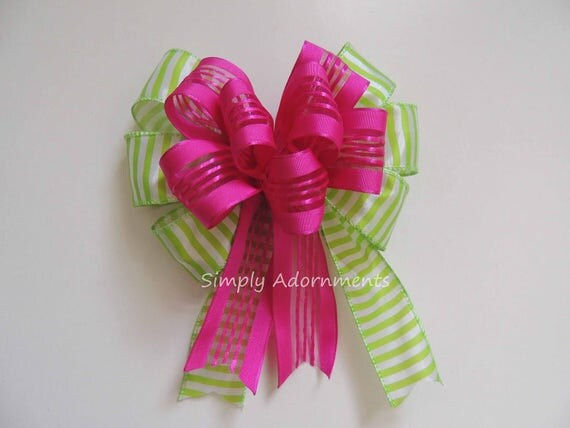 Pink Lime Stripes Bow Pink Lime Spring Wreath Bow Gift basket Bow Pink Lime Birthday Party decoration Gift Wrap Bow Spring Door Hanger Bow