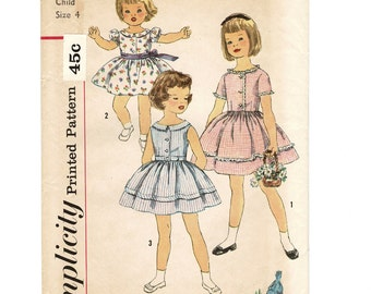 Simplicity 3457 Sewing Patterns Childs OnePiece Dress, Vintage 1950s Fashions, Girls Size 4, Chest 23, Uncut