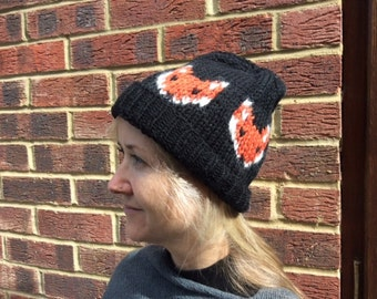Mr. Fox Beanie  Black. Handknitted warm Fox Hat. Foxy Lady Alpaca Beanie . Knitted Animal Cap .Gift for boyfriend.