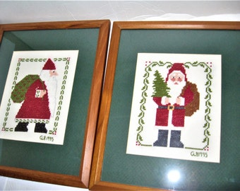 Vintage Old World Santas  - Rustic Handmade Old World Santas Needlepoint Pictures - Primitive Rustic Santa Framed Needlepoint