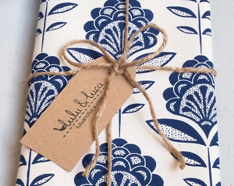 Tea towel, screen printed with art deco peacock flower pattern, cotton kitchen/dish towels in navy blue or lime made in uk, perfect gift