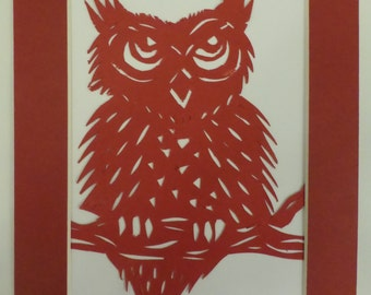 Owl, paper cutting, silhouette with matching coloured mount.