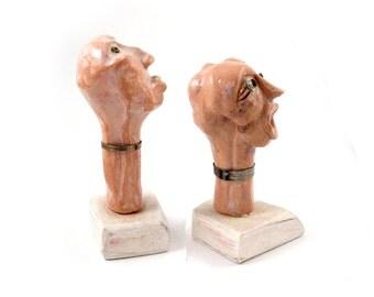 Stoneware Sculpture, Set of 2, Ceramic art  sculptures, Desk sculpture, Small sculpture, Art ceramics, Robot sculpture, Modern ceramics