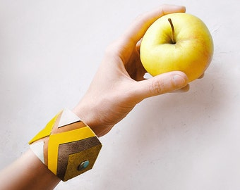 Leather Cuff Bracelet yellow and brown, geometric natural leather jewelry, chevron fashion jewelry