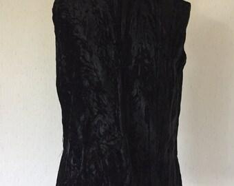 Vintage 60s Black Velvet Sleeveless Top