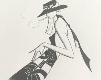 original pencil drawing / fashion illustration / small minimalist art / mod / disco / decor