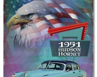 1951 hudson hornet classic 12 x 18 aluminum sign by artist phil hamilton