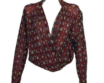 Vintage Victorian Edwardian Top /Embroidered Net /Silk /French