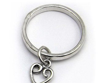 Sterling Silver Heart / Celtic Chevron Charm Ring