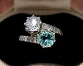 Payment 8 for K-- Victorian Old Mine Diamond and Tourmaline Moi-et-Toi Ring Platinum/18k c. 1890, Vintage Engagement