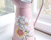 Gorgeous Rare Hand-painted Pink Floral French Enamelware Body Pitcher, signed BB Frères