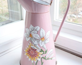 Beautiful Hand-painted Pink Floral French Enamelware Body Pitcher, signed BB Frères
