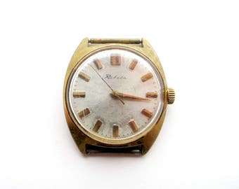 Vintage Wristwatch RAKETA, Collectable Watch Rare 16 Jewels GOLD Plated Case Made in USSR Vintage 70s Mechanical Watch
