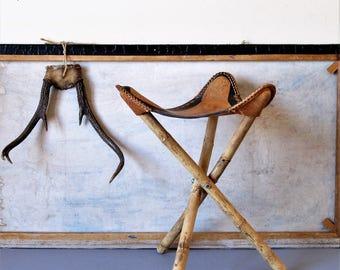 Vintage leather folding stool, tripod display stool, cabin decor, hand tooled leather folding stool,western style stool