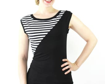 Top black white stipes jersey T-Shirt Shirt woman