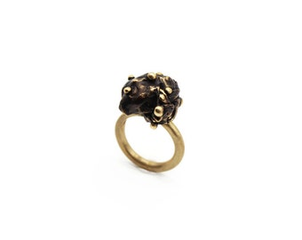 Burnished brass ring, black and gold