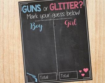 Guns or Glitter Gender Reveal Guess sign. PRINTABLE baby shower chalkboard poster boy or girl