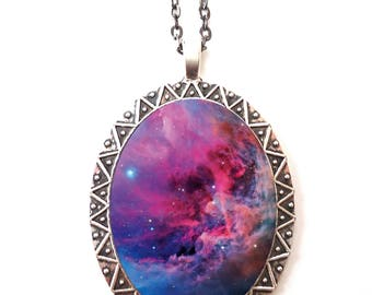 Outer Space Nebula Necklace Pendant Silver Tone - Outerspace Universe Comos Galaxy Celestial