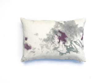 Hand dyed Throw Pillow with Purple and Gray Pillow Cover Decorative Throw Pillow 14 x 20 Cushion Cover Black Cherry 2