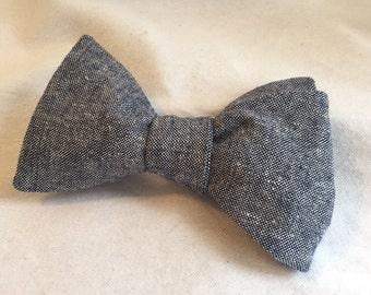 Men's Blue Linen Adjustable Bow Tie (Self Tie)