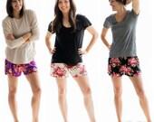 Floral Pajama Shorts,Bridesmaid Gift, Floral Pajamas,Bridesmaid Pajamas,Bridesmaid Robe,Bridal Shower Gift,Cute Pajamas,Wedding Party,Bride