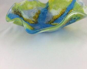 Blue, green, yellow watercolors wavy bowl